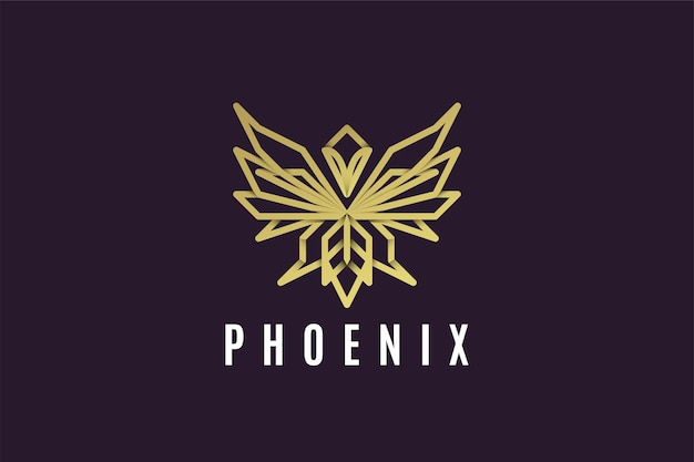 抽象的なフェニックスゴールドラインアートのロゴ