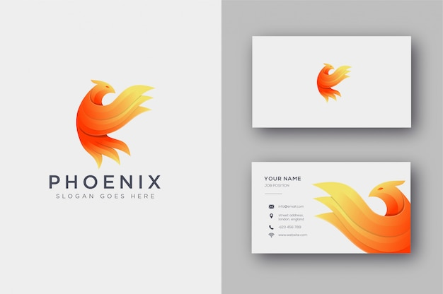 Abstract phoenix logo and business card