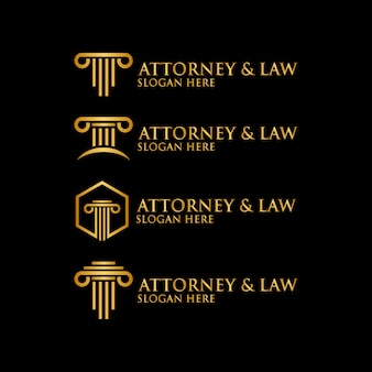 Abstract pillar attorney law logo template vector