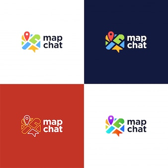 Abstract pin map chat logotype.
