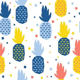 추상 파인애플 원활한 패턴 배경입니다. 디자인 카드, 카페 메뉴, 벽지, 여름 선물 앨범, 스크랩북, 휴일 포장지, 아기 기저귀, 가방 프린트, 티셔츠 등을 위한 유치한 수제 공예
