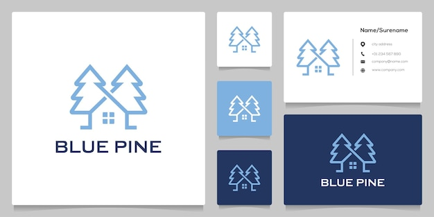 Абстрактные сосны ель вечнозеленые формы дома линии контур дизайн логотипа