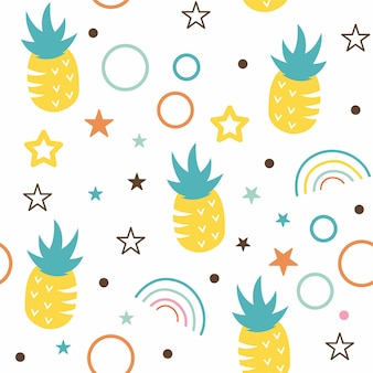 Abstract pineapple with star illustration pattern