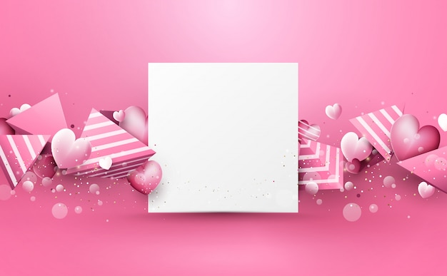 Abstract pink 3d polygons and hearts rough stripes