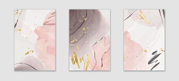 金色のキラキラブラシストロークと線で抽象的なピンクとグレーの液体水彩背景。金色の染みが付いたエレガントな流動大理石アルコールインク描画効果。アースカラーのベクトルイラスト。