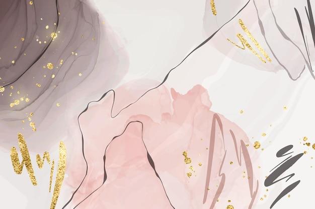 金色のキラキラブラシストロークと線で抽象的なピンクとグレーの液体水彩背景