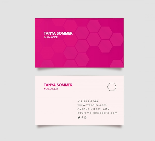Abstract pink business card
