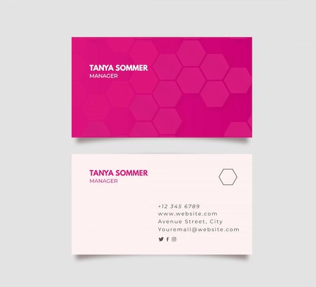 抽象的なピンクの名刺