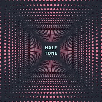 Abstract pink color halftone perspective background