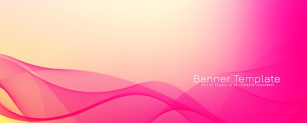 Abstract pink color wave banner background
