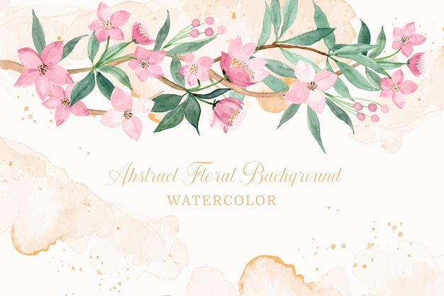 Abstract pink floral background with watercolor