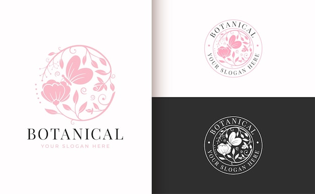 Abstract pink floral vintage logo with butterfly