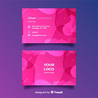 Abstract pink gradient business card with memphis style
