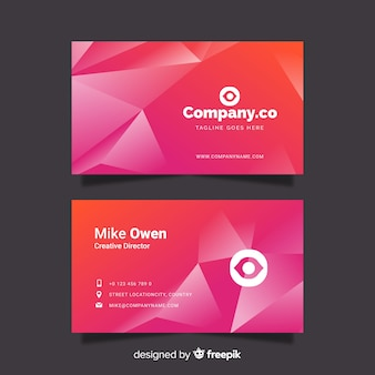 Abstract pink gradient business card