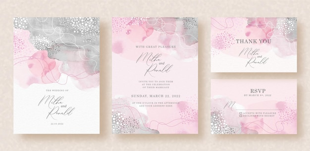 Abstract pink and grey mixed splash watercolor painting on wedding invitation