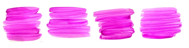 Abstract pink hand painted watercolor brush stroke set