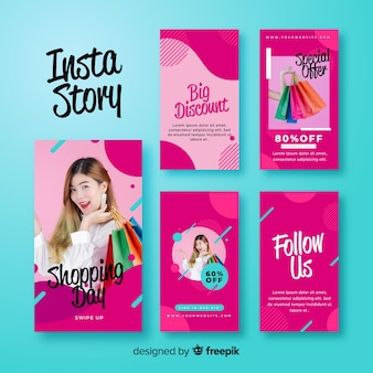 Abstract pink instagram stories template