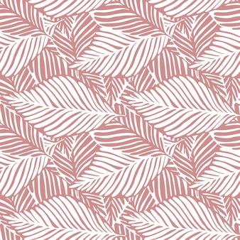 Бесшовный фон абстрактный розовые джунгли. экзотическое растение. тропический принт, пальмовые листья вектор цветочный фон.