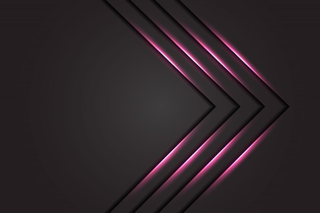 Abstract pink light arrow on dark grey design modern luxury futuristic