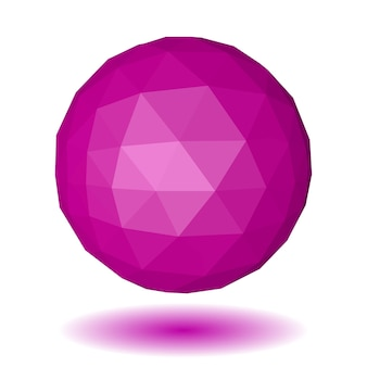 Abstract pink low polygonal sphere made of triangular faces with shadow on white background