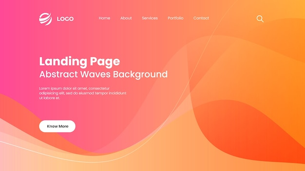 Abstract pink and orange landing page waves background