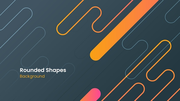 Abstract pink and orange rounded shapes dark background