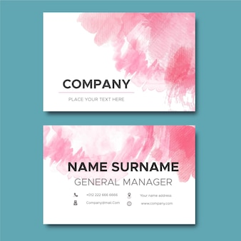 Abstract pink paint brushes business card