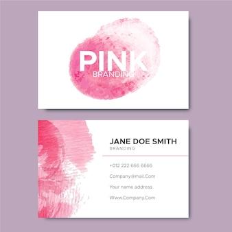 抽象的なピンクのペイントブラシ名刺