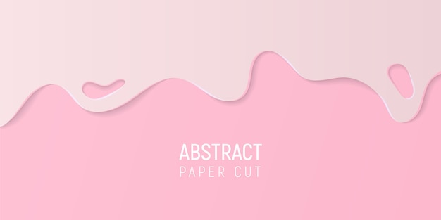 Abstract pink paper cut background. banner with slime pink paper cut waves.