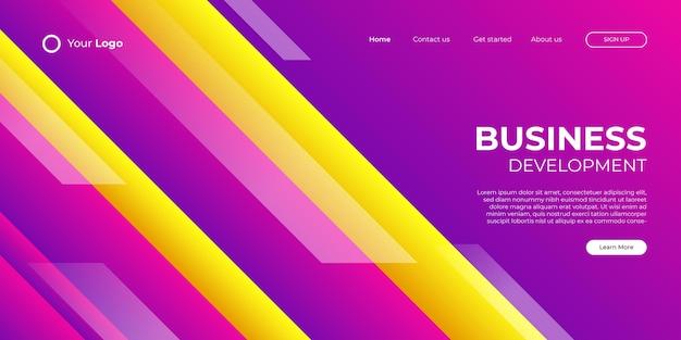 현대적인 모양과 간단한 기술 개념을 갖춘 비즈니스 방문 페이지를 위한 추상 분홍색 보라색 노란색 배경. 기업 웹 디자인 방문 페이지 블록 벡터 일러스트 템플릿입니다.