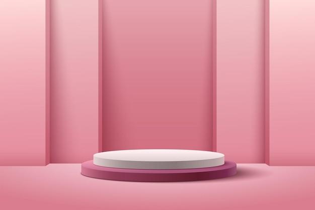 제품 발표를위한 추상 분홍색 둥근 전시