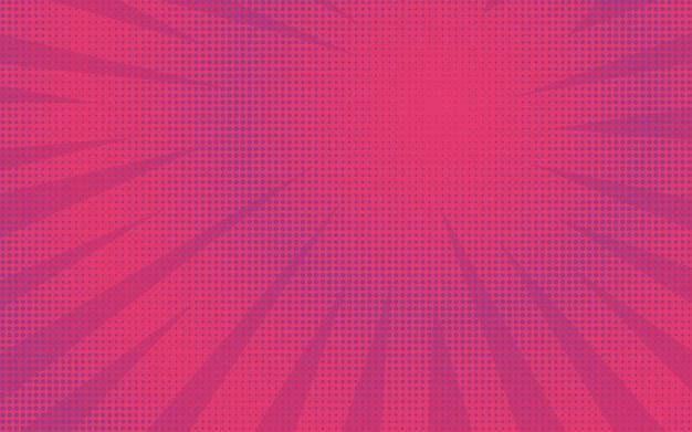 丸みを帯びたハーフトーンの影と抽象的なピンクの縞模様の光沢のあるレトロなコミックの背景