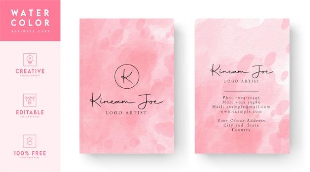Абстрактный розовый акварельный дизайн шаблона визитной карточки