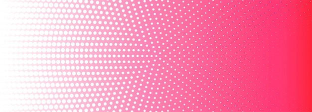 Abstract pink and white circular halftone pattern banner background
