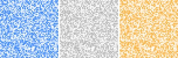 抽象的なピクセルの背景を設定します。灰色、青、黄色。ピクセルパターン。ベクトルイラスト。