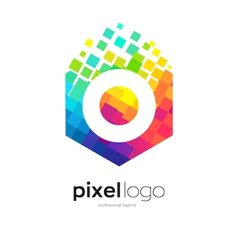 Abstract pixel logo design