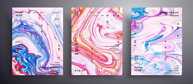 Abstract   placard, texture set of fluid art covers.