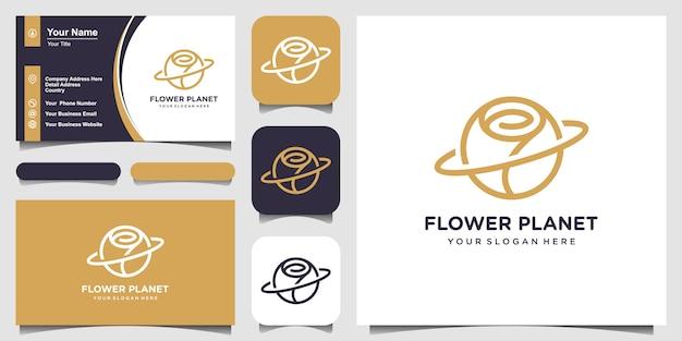 抽象的な惑星と花のバラのロゴと名刺