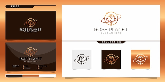 Abstract planet combine flower rose logo and business card design