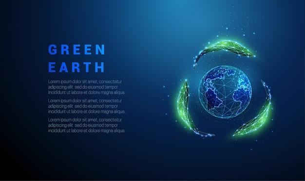 Абстрактная планета земля в знаке рециркуляции от листьев.