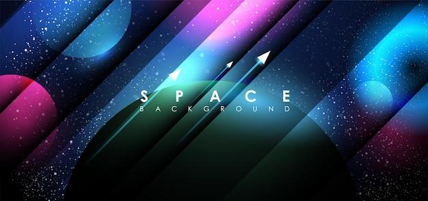 공간에서 일출과 추상 행성입니다.