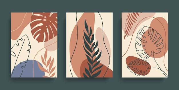 Абстрактное искусство растений в земных тонах с геометрическими формами