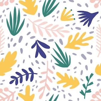 추상 식물 평면 벡터 완벽 한 패턴입니다. 최소한의 단풍과 나뭇가지 질감. 아름 다운 식물 배경입니다. 다채로운 나뭇가지와 나뭇잎입니다. 꽃무늬 벽지, 섬유, 포장지 디자인.