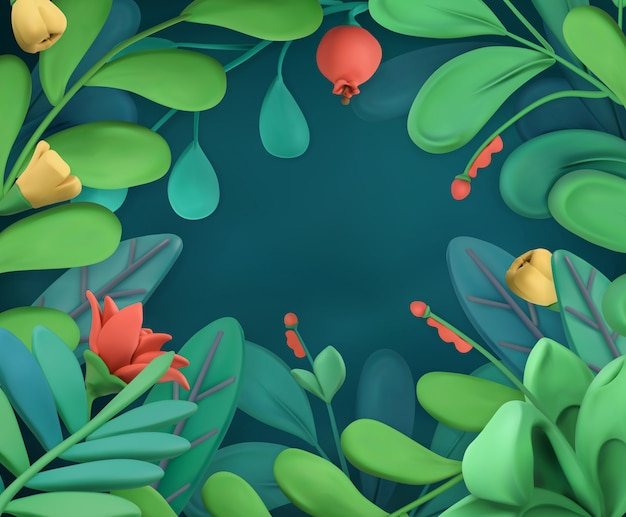 Abstract plants and flowers frame, plasticine art background