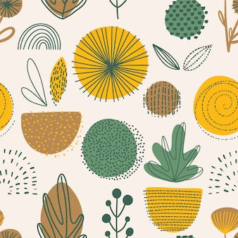 Abstract plants seamless pattern.