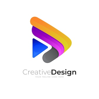 Abstract play logo and 3d colorful, simple icon vector