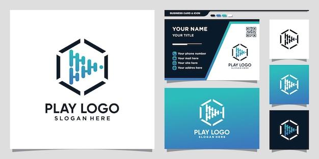 Абстрактная технология игрового логотипа со стилем штриховой графики и дизайном визитной карточки premium векторы