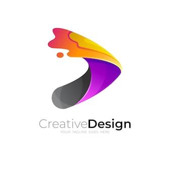 カラフルな3dスタイルのスウッシュデザインの抽象的な遊びのロゴ