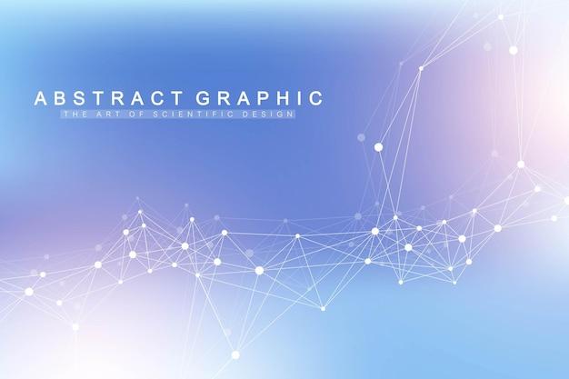 연결된 선과 점이 있는 추상 신경총 배경. 분자 및 통신 배경입니다. 디자인을 위한 그래픽 배경입니다. 라인 신경총 빅 데이터 시각화. 벡터 일러스트 레이 션.