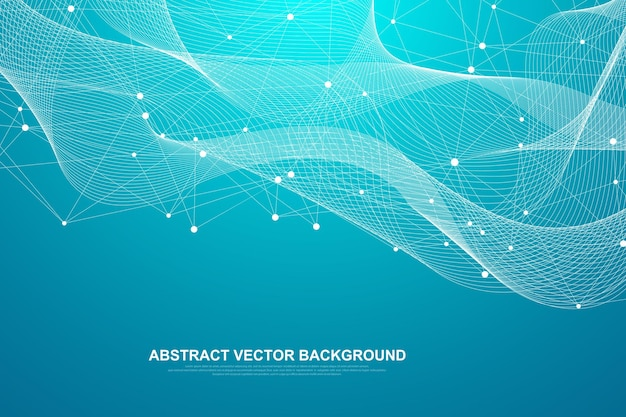接続された線と点を持つ抽象的な神経叢の背景。プレクサスの幾何学的効果。デジタルデータの視覚化。デザインのための未来的なテクノロジースタイルの低ポリ要素。ベクトルイラスト。